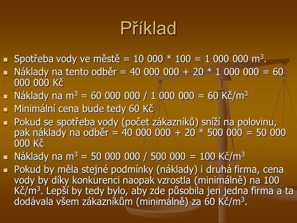 Příklad  Spotřeba vody ve městě = 10 000 * 100 = 1 000 000 m 3.  Náklady na tento odběr = 40 000 000 + 20 * 1 000 000 = 60 000 000 Kč  Náklady na m