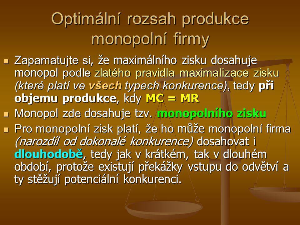 Optimální rozsah produkce monopolní firmy (maximalizace zisku) Q M MC = S AC MR AR = P DK PMPM P DK Q DK P i Q i M Celkové příjmy TR M = AR M * Q M Zisk AC M AR M Tento bod vyjadřuje rovnováhu na trhu (D=S)a objem produkce, který by vyráběla DK (P=MC).