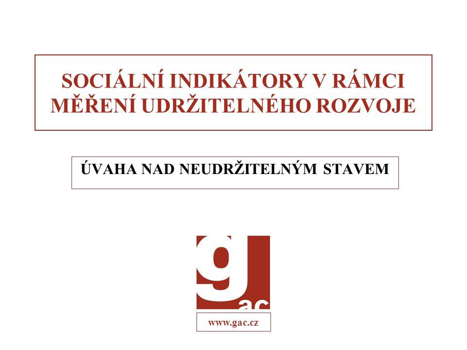 www.gac.cz SOCIÁLNÍ INDIKÁTORY V RÁMCI MĚŘENÍ UDRŽITELNÉHO ROZVOJE ÚVAHA NAD NEUDRŽITELNÝM STAVEM