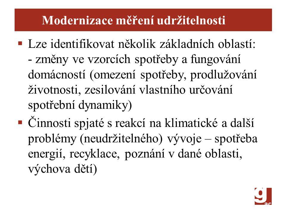 Modernizace měření udržitelnosti  Lze identifikovat několik základních oblastí: - změny ve vzorcích spotřeby a fungování domácností (omezení spotřeby