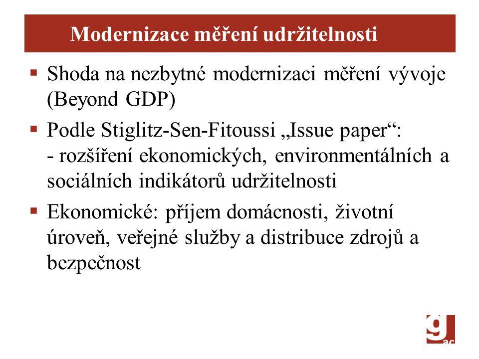 """Modernizace měření udržitelnosti  Shoda na nezbytné modernizaci měření vývoje (Beyond GDP)  Podle Stiglitz-Sen-Fitoussi """"Issue paper : - rozšíření ekonomických, environmentálních a sociálních indikátorů udržitelnosti  Ekonomické: příjem domácnosti, životní úroveň, veřejné služby a distribuce zdrojů a bezpečnost"""