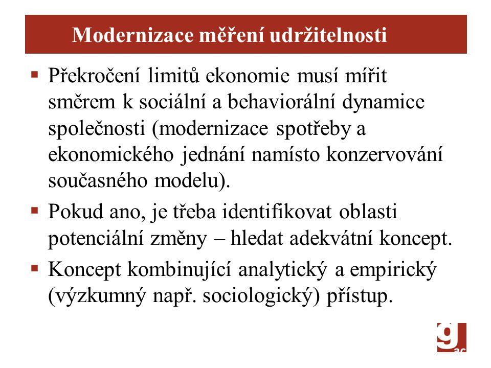 Modernizace měření udržitelnosti  Překročení limitů ekonomie musí mířit směrem k sociální a behaviorální dynamice společnosti (modernizace spotřeby a