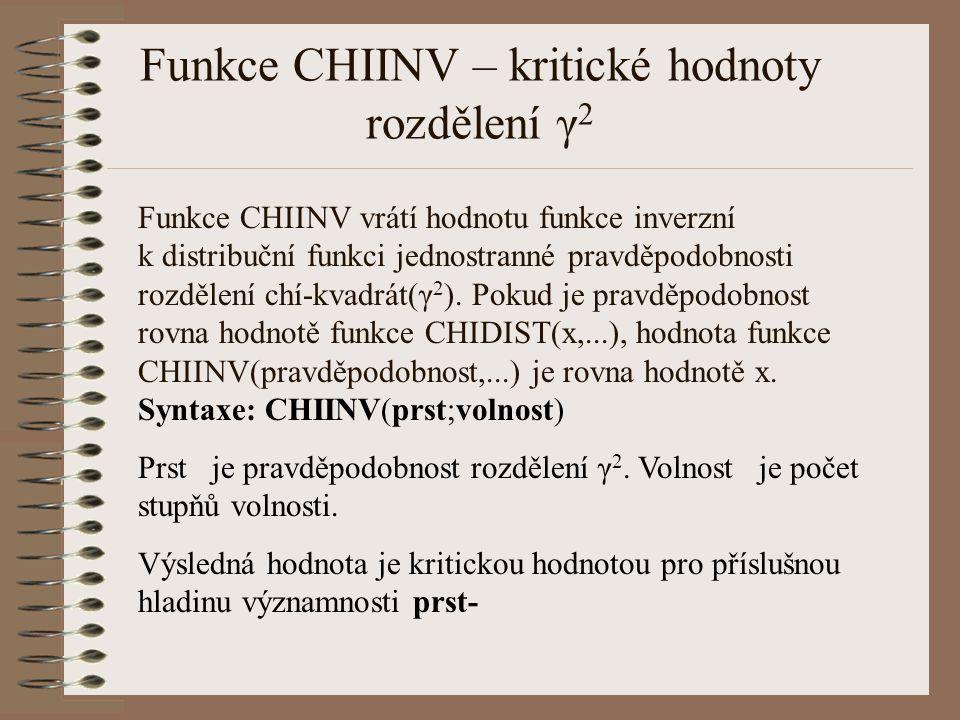 Funkce CHIINV – kritické hodnoty rozdělení γ 2 Funkce CHIINV vrátí hodnotu funkce inverzní k distribuční funkci jednostranné pravděpodobnosti rozdělen