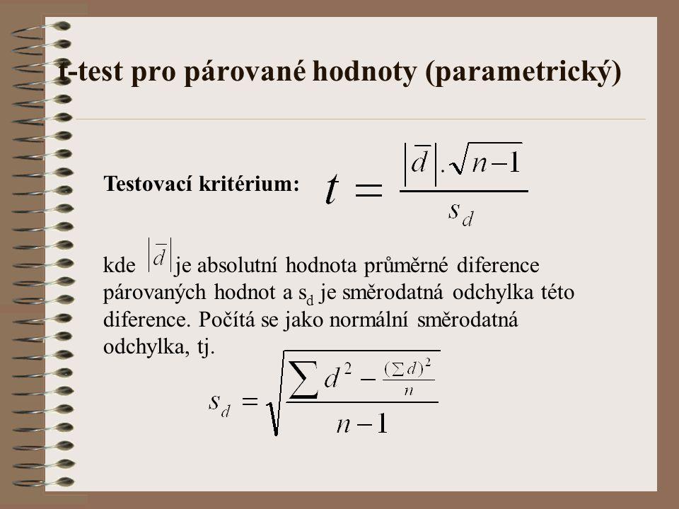 t-test pro párované hodnoty (parametrický) Testovací kritérium: kde je absolutní hodnota průměrné diference párovaných hodnot a s d je směrodatná odch