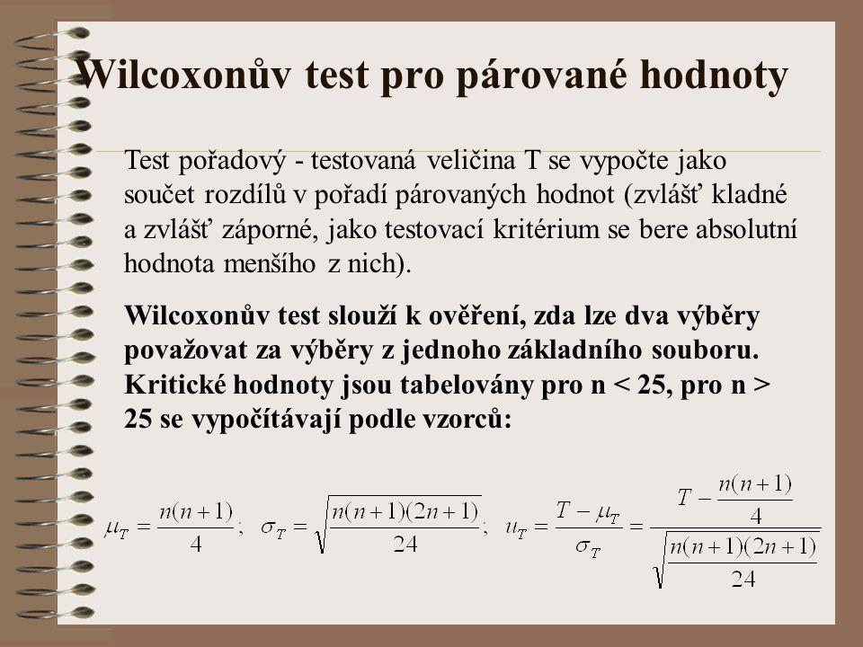 Wilcoxonův test pro párované hodnoty Test pořadový - testovaná veličina T se vypočte jako součet rozdílů v pořadí párovaných hodnot (zvlášť kladné a z
