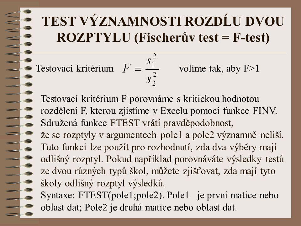 TEST VÝZNAMNOSTI ROZDĹU DVOU ROZPTYLU (Fischerův test = F-test) Testovací kritérium volíme tak, aby F>1 Testovací kritérium F porovnáme s kritickou ho
