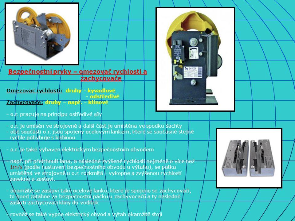 Bezpečnostní prvky – omezovač rychlosti a zachycovače Omezovač rychlosti: druhy - kyvadlové - odstředivé Zachycovače: druhy – např.