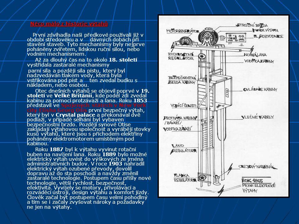 Rozdělení výtahů a jednotlivé součásti Podle druhu pohonu dělíme výtahy do těchto skupin: - Výtahy s elektrickým pohonem - Výtahy s hydraulickým pohonem - Výtahy s pneumatickým pohonem Základní parametry výtahu jsou: nosnost a jmenovitá dopravní rychlost Součásti a komponenty: - nosnými orgány jsou nejčastěji ocelová lana - hnací elektromotor s převodovkou, nebo bez ní + brzda + hnací lanový kotouč s napínací kladkou + rám, ve kterém je umístěn výtahový stroj - kabina, ve které jsou přepravovány osoby, či náklad - protiváha, která vyvažuje zcela kabinu a část břemene cca (40 – 50%) - výtahová šachta s šachetními dveřmi - důležitá bezpečnostní zařízení - omezovač rychlosti + zachycovače - nárazníky kabiny a protiváhy, vodítka - řídící systém výtahu + elektroinstalace