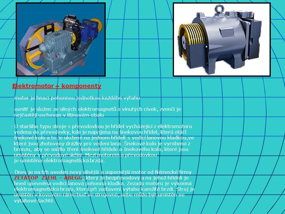 Elektromotor + komponenty - motor je hnací pohonnou jednotkou každého výtahu - uvnitř je složen ze silných elektromagnetů a vinutých cívek, zvenčí je