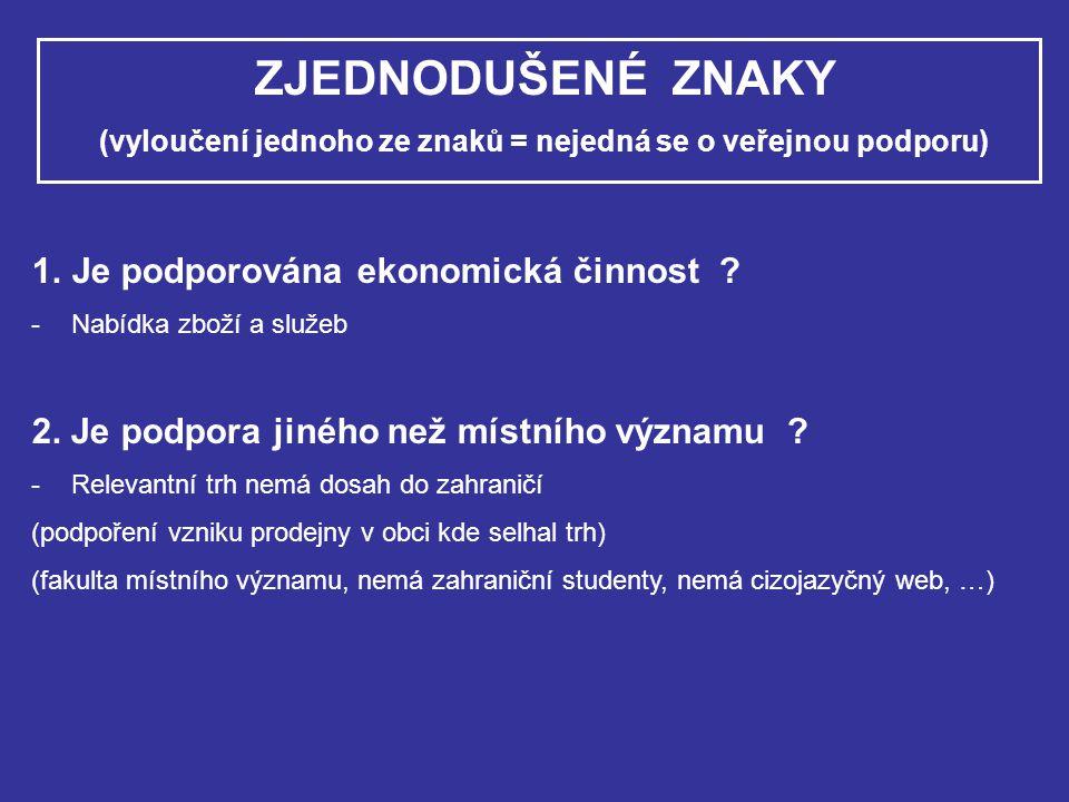 PŘÍPADY POVOLENÉ VEŘEJNÉ PODPORY 1.Výjimky ze Smlouvy o založení ES 2.