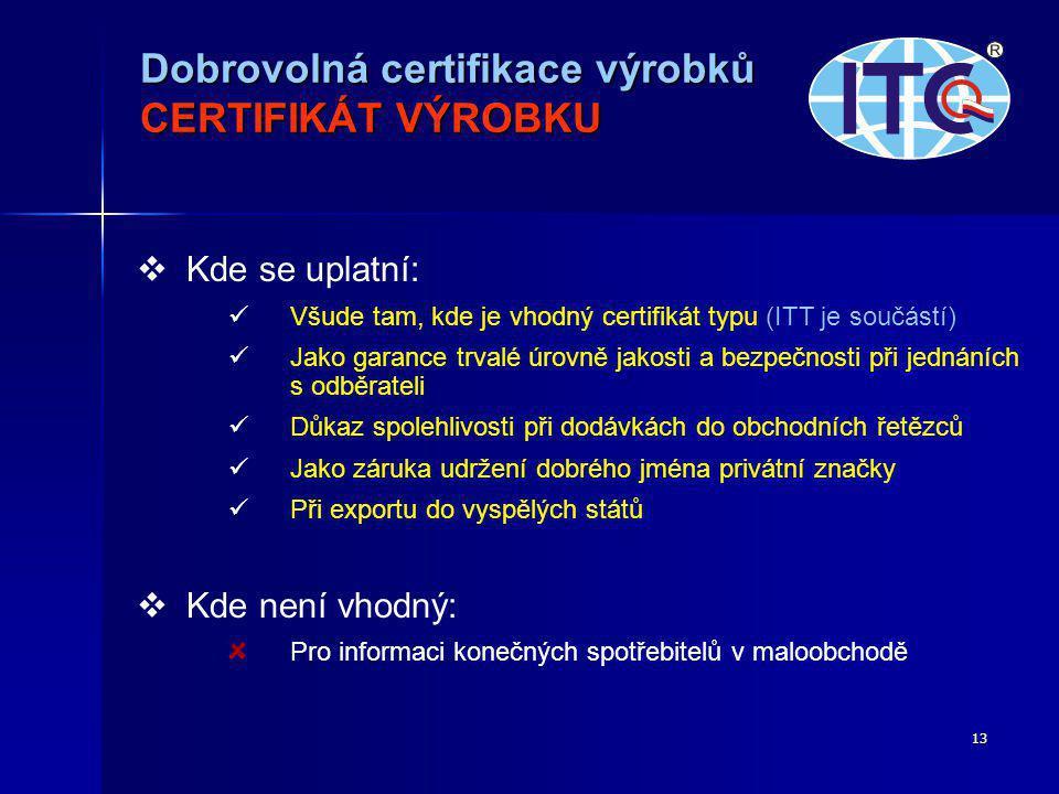 13   Kde se uplatní:   Všude tam, kde je vhodný certifikát typu (ITT je součástí)   Jako garance trvalé úrovně jakosti a bezpečnosti při jednáních s odběrateli   Důkaz spolehlivosti při dodávkách do obchodních řetězců   Jako záruka udržení dobrého jména privátní značky   Při exportu do vyspělých států   Kde není vhodný: Pro informaci konečných spotřebitelů v maloobchodě Dobrovolná certifikace výrobků CERTIFIKÁT VÝROBKU