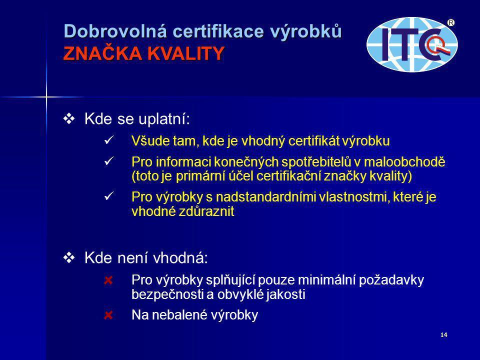 14   Kde se uplatní:   Všude tam, kde je vhodný certifikát výrobku   Pro informaci konečných spotřebitelů v maloobchodě (toto je primární účel certifikační značky kvality)   Pro výrobky s nadstandardními vlastnostmi, které je vhodné zdůraznit   Kde není vhodná: Pro výrobky splňující pouze minimální požadavky bezpečnosti a obvyklé jakosti Na nebalené výrobky Dobrovolná certifikace výrobků ZNAČKA KVALITY