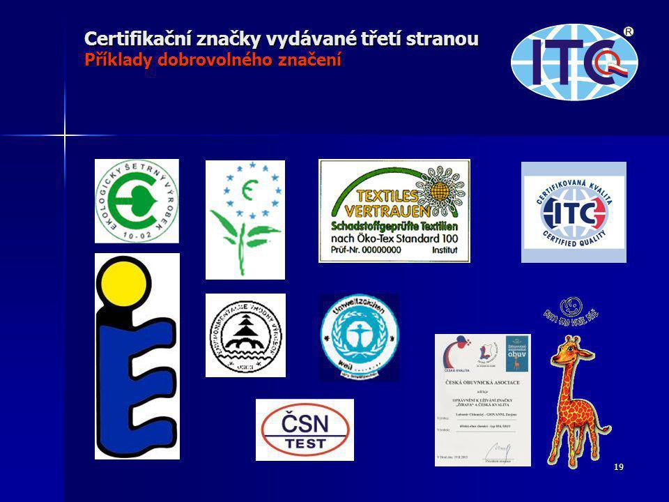 19 Certifikační značky vydávané třetí stranou Příklady dobrovolného značení