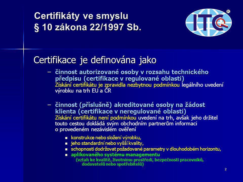 2 Certifikace je definována jako –činnost autorizované osoby v rozsahu technického předpisu (certifikace v regulované oblasti) –činnost autorizované osoby v rozsahu technického předpisu (certifikace v regulované oblasti) Získání certifikátu je zpravidla nezbytnou podmínkou legálního uvedení výrobku na trh EU a ČR –činnost (příslušně) akreditované osoby na žádost klienta (certifikace v neregulované oblasti) –činnost (příslušně) akreditované osoby na žádost klienta (certifikace v neregulované oblasti) Získání certifikátu není podmínkou uvedení na trh, avšak jeho držitel touto cestou dokládá svým obchodním partnerům informaci o provedeném nezávislém ověření   konstrukce nebo složení výrobku,   jeho standardní nebo vyšší kvality,   schopnosti dodržovat požadované parametry v dlouhodobém horizontu,   aplikovaného systému managementu (vztah ke kvalitě, životnímu prostředí, bezpečnosti pracovníků, dodavatelů nebo spotřebitelů) Certifikáty ve smyslu § 10 zákona 22/1997 Sb.
