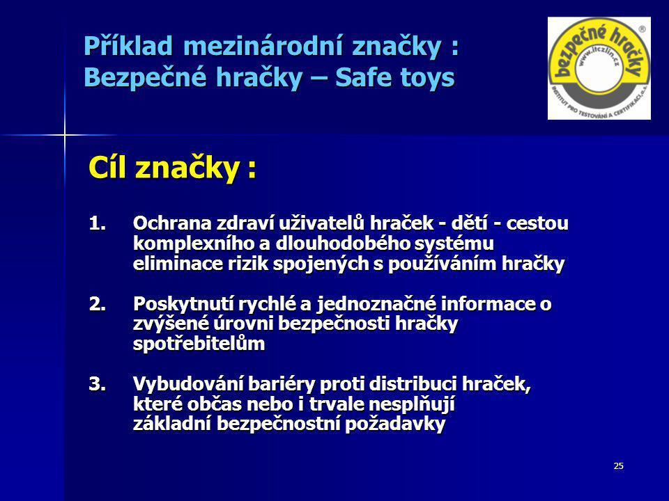 25 Příklad mezinárodní značky : Bezpečné hračky – Safe toys Cíl značky : 1.Ochrana zdraví uživatelů hraček - dětí - cestou komplexního a dlouhodobého systému eliminace rizik spojených s používáním hračky 2.Poskytnutí rychlé a jednoznačné informace o zvýšené úrovni bezpečnosti hračky spotřebitelům 3.Vybudování bariéry proti distribuci hraček, které občas nebo i trvale nesplňují základní bezpečnostní požadavky