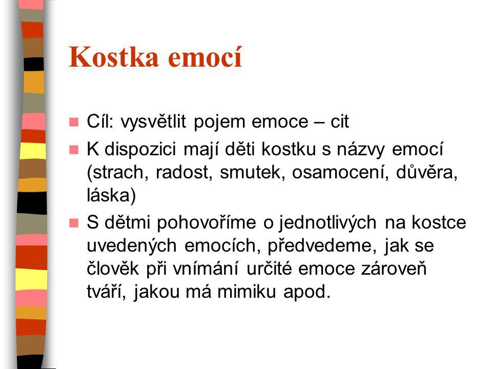 Kostka emocí  Cíl: vysvětlit pojem emoce – cit  K dispozici mají děti kostku s názvy emocí (strach, radost, smutek, osamocení, důvěra, láska)  S dě