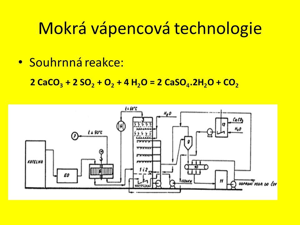 Mokrá vápencová technologie • Souhrnná reakce: 2 CaCO 3 + 2 SO 2 + O 2 + 4 H 2 O = 2 CaSO 4.2H 2 O + CO 2
