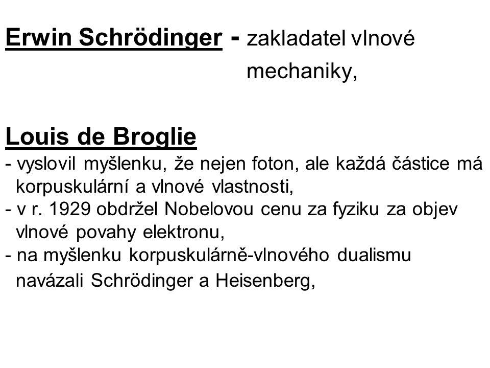 Erwin Schrödinger - zakladatel vlnové mechaniky, Louis de Broglie - vyslovil myšlenku, že nejen foton, ale každá částice má korpuskulární a vlnové vla