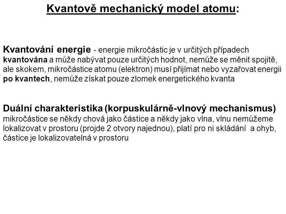 Kvantově mechanický model atomu: Kvantování energie - energie mikročástic je v určitých případech kvantována a může nabývat pouze určitých hodnot, nem