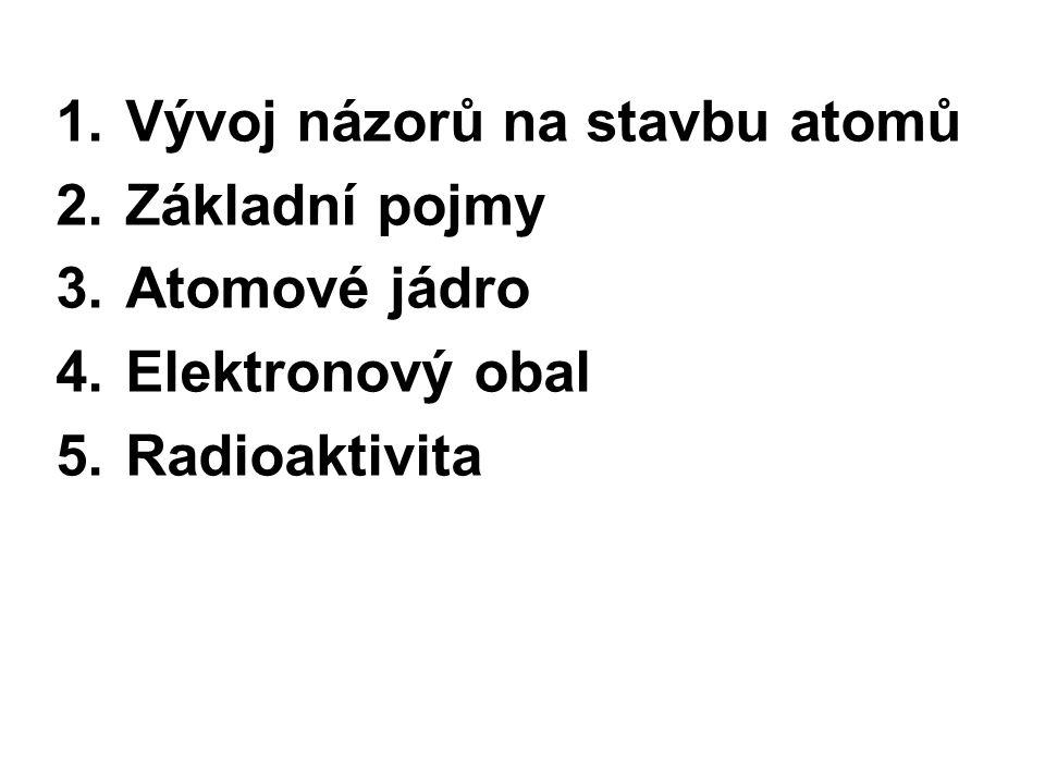 1.Vývoj názorů na stavbu atomů 2.Základní pojmy 3.Atomové jádro 4.Elektronový obal 5.Radioaktivita