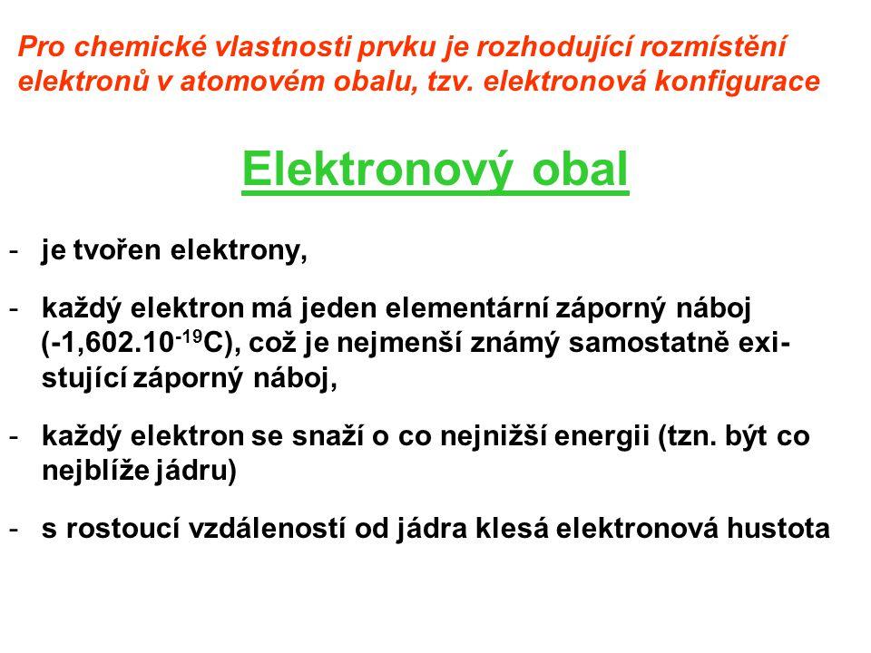 Pro chemické vlastnosti prvku je rozhodující rozmístění elektronů v atomovém obalu, tzv. elektronová konfigurace Elektronový obal -je tvořen elektrony