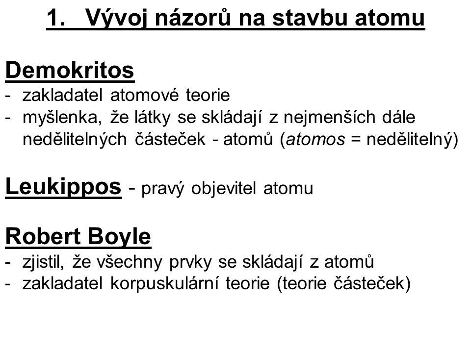 1. Vývoj názorů na stavbu atomu Demokritos -zakladatel atomové teorie -myšlenka, že látky se skládají z nejmenších dále nedělitelných částeček - atomů
