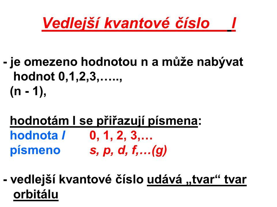Vedlejší kvantové číslo l - je omezeno hodnotou n a může nabývat hodnot 0,1,2,3,….., (n - 1), hodnotám l se přiřazují písmena: hodnota l 0, 1, 2, 3,…