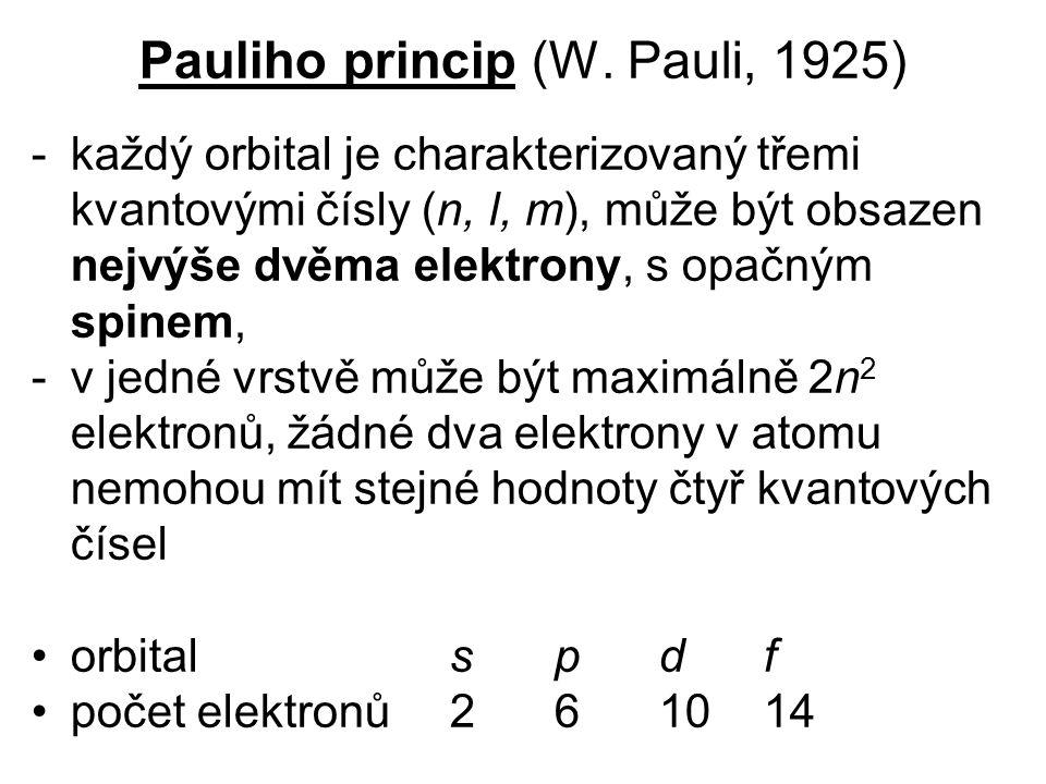 Pauliho princip (W. Pauli, 1925) -každý orbital je charakterizovaný třemi kvantovými čísly (n, l, m), může být obsazen nejvýše dvěma elektrony, s opač