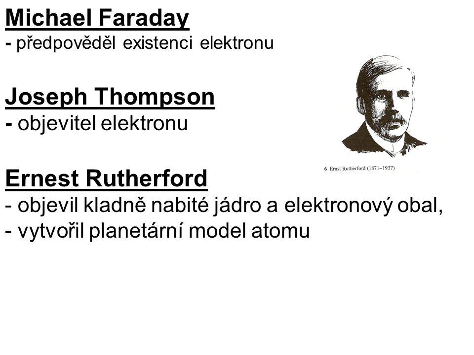 Michael Faraday - předpověděl existenci elektronu Joseph Thompson - objevitel elektronu Ernest Rutherford - objevil kladně nabité jádro a elektronový