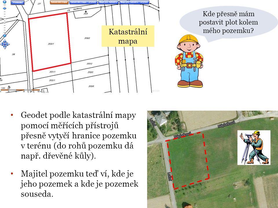 Kde přesně mám postavit plot kolem mého pozemku? • Geodet podle katastrální mapy pomocí měřících přístrojů přesně vytyčí hranice pozemku v terénu (do