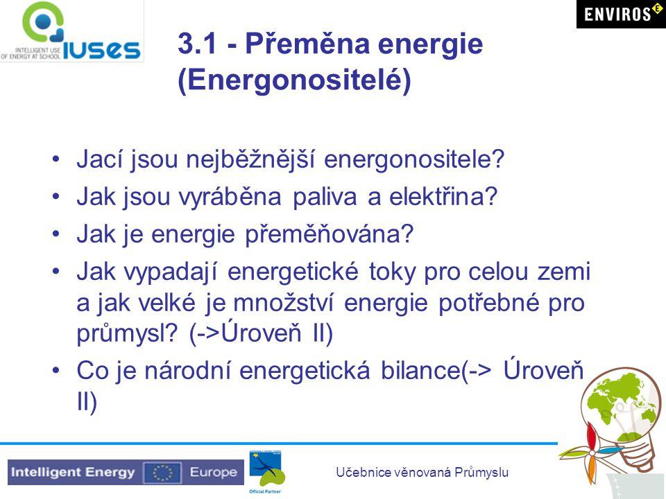 Učebnice věnovaná Průmyslu 3.1 - Přeměna energie (Energonositelé) •Jací jsou nejběžnější energonositele? •Jak jsou vyráběna paliva a elektřina? •Jak j