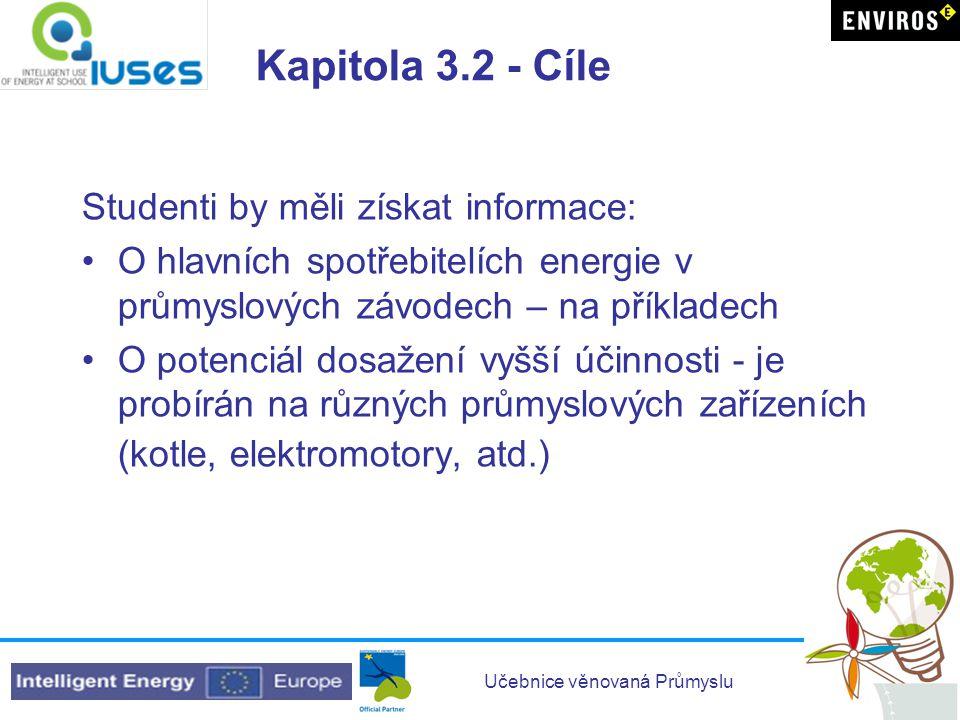 Učebnice věnovaná Průmyslu Kapitola 3.2 - Cíle Studenti by měli získat informace: •O hlavních spotřebitelích energie v průmyslových závodech – na přík