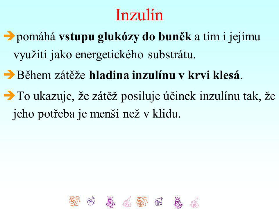 Inzulín  pomáhá vstupu glukózy do buněk a tím i jejímu využití jako energetického substrátu.  Během zátěže hladina inzulínu v krvi klesá.  To ukazu