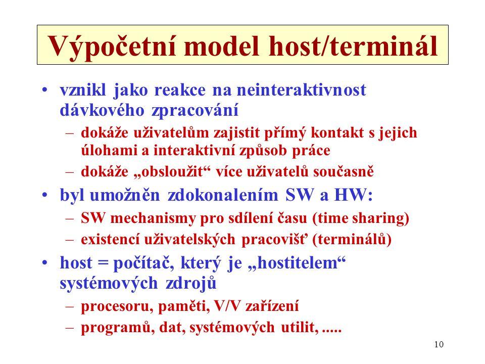 10 Výpočetní model host/terminál •vznikl jako reakce na neinteraktivnost dávkového zpracování –dokáže uživatelům zajistit přímý kontakt s jejich úloha