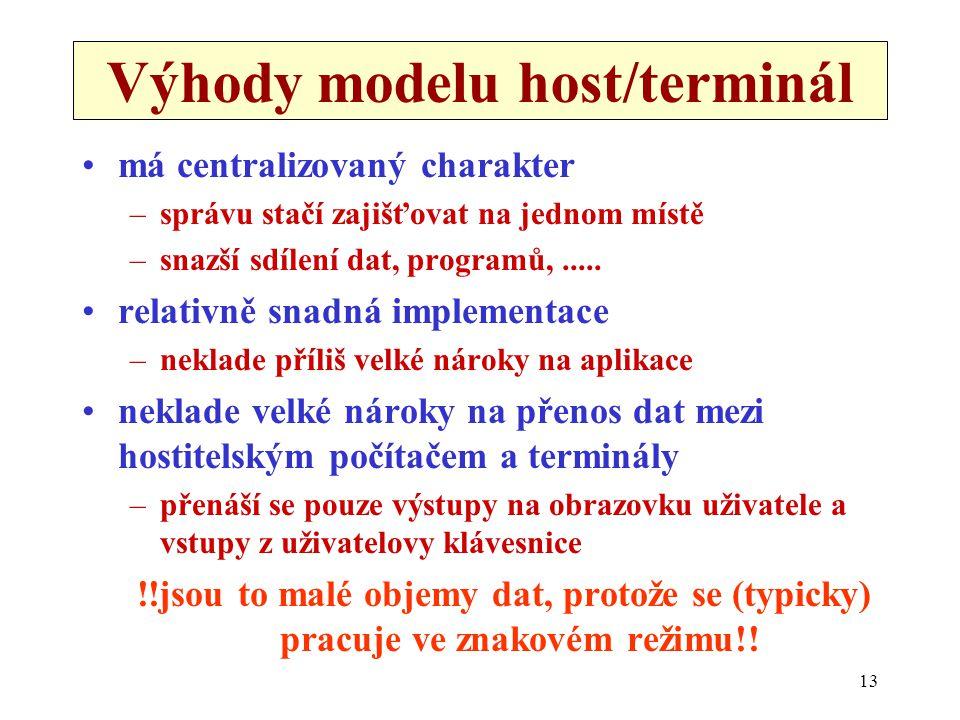 13 Výhody modelu host/terminál •má centralizovaný charakter –správu stačí zajišťovat na jednom místě –snazší sdílení dat, programů,..... •relativně sn