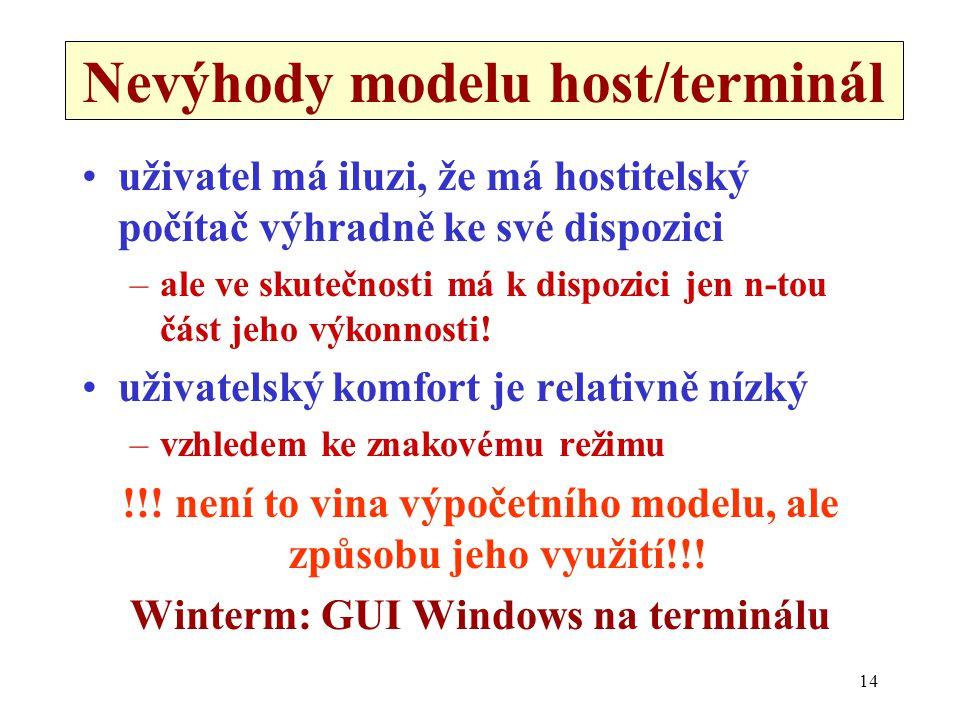 14 Nevýhody modelu host/terminál •uživatel má iluzi, že má hostitelský počítač výhradně ke své dispozici –ale ve skutečnosti má k dispozici jen n-tou