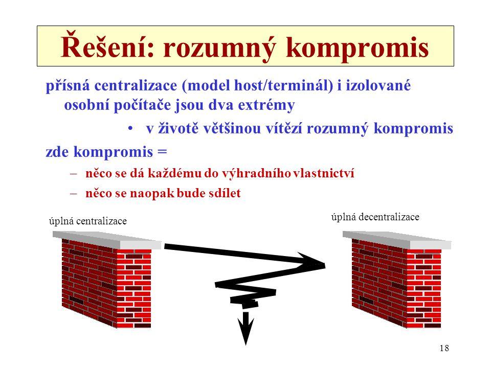 18 Řešení: rozumný kompromis přísná centralizace (model host/terminál) i izolované osobní počítače jsou dva extrémy •v životě většinou vítězí rozumný