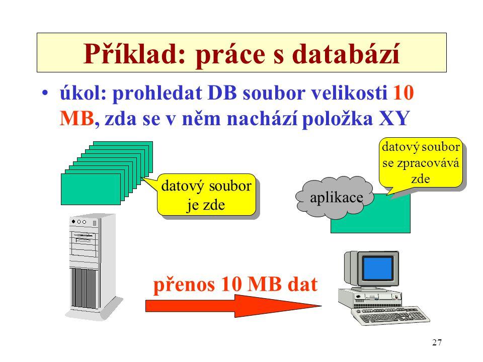 27 Příklad: práce s databází •úkol: prohledat DB soubor velikosti 10 MB, zda se v něm nachází položka XY aplikace datový soubor je zde datový soubor j