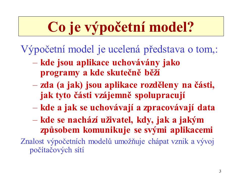 3 Co je výpočetní model? Výpočetní model je ucelená představa o tom,: –kde jsou aplikace uchovávány jako programy a kde skutečně běží –zda (a jak) jso