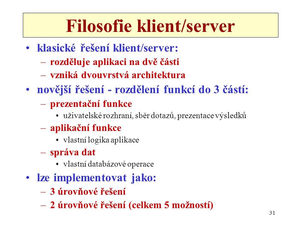 31 Filosofie klient/server •klasické řešení klient/server: –rozděluje aplikaci na dvě části –vzniká dvouvrstvá architektura •novější řešení - rozdělen
