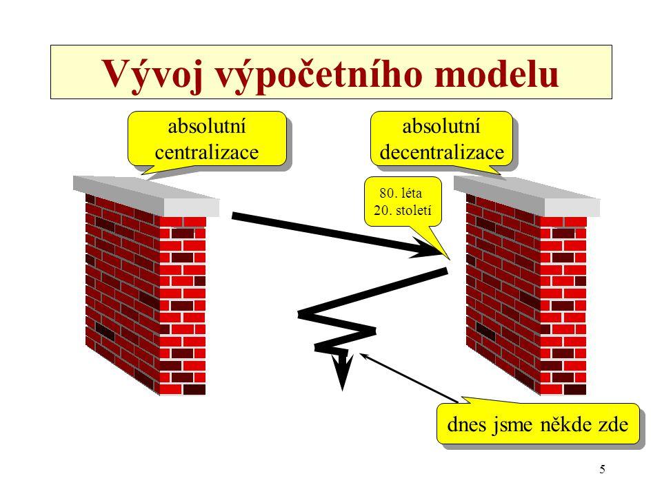 26 Nevýhody modelu file server/pracovní stanice •v některých situacích je hodně neefektivní –způsobuje zbytečný přenos –může snadno dojít k zahlcení sítě •důvod: –data jsou zpracována jinde, než jsou umístěna (a proto musí být přenášena) –podobně pro programy
