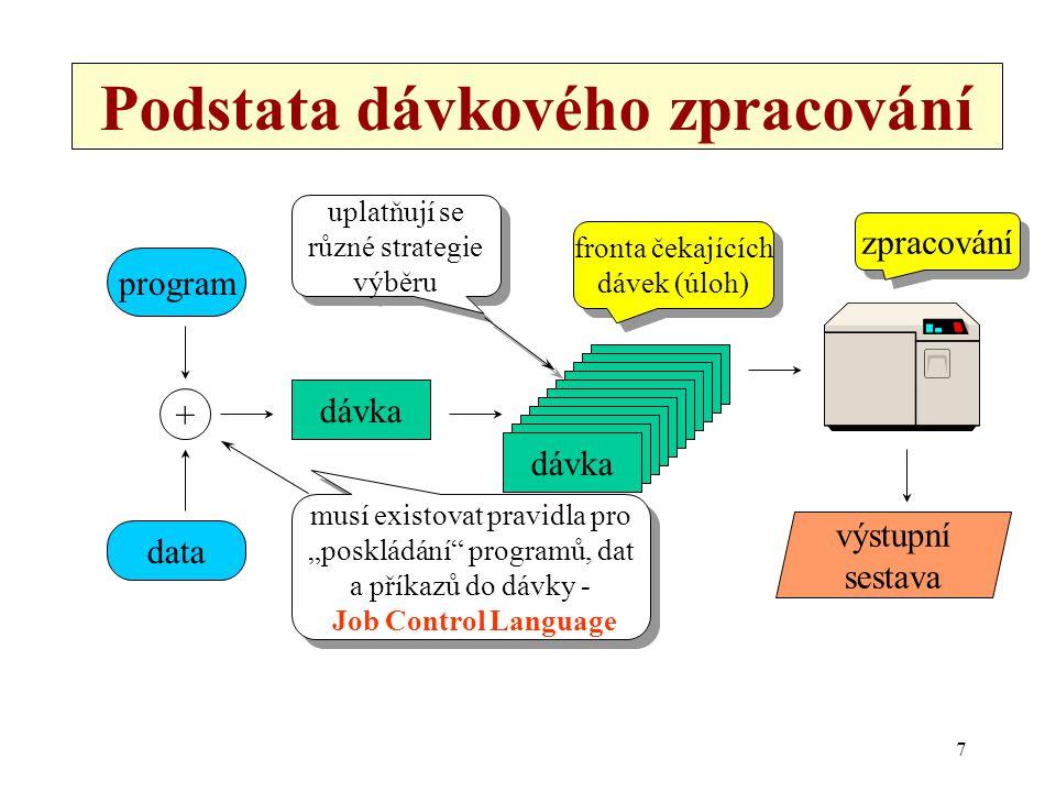 7 Podstata dávkového zpracování data program dávka + výstupní sestava fronta čekajících dávek (úloh) fronta čekajících dávek (úloh) zpracování musí ex