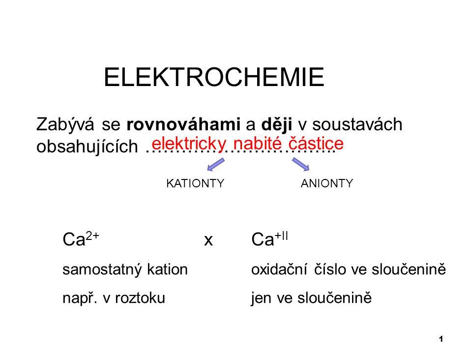 1 ELEKTROCHEMIE Zabývá se rovnováhami a ději v soustavách obsahujících ………………………….. Ca 2+ xCa +II samostatný kationoxidační číslo ve sloučenině např.