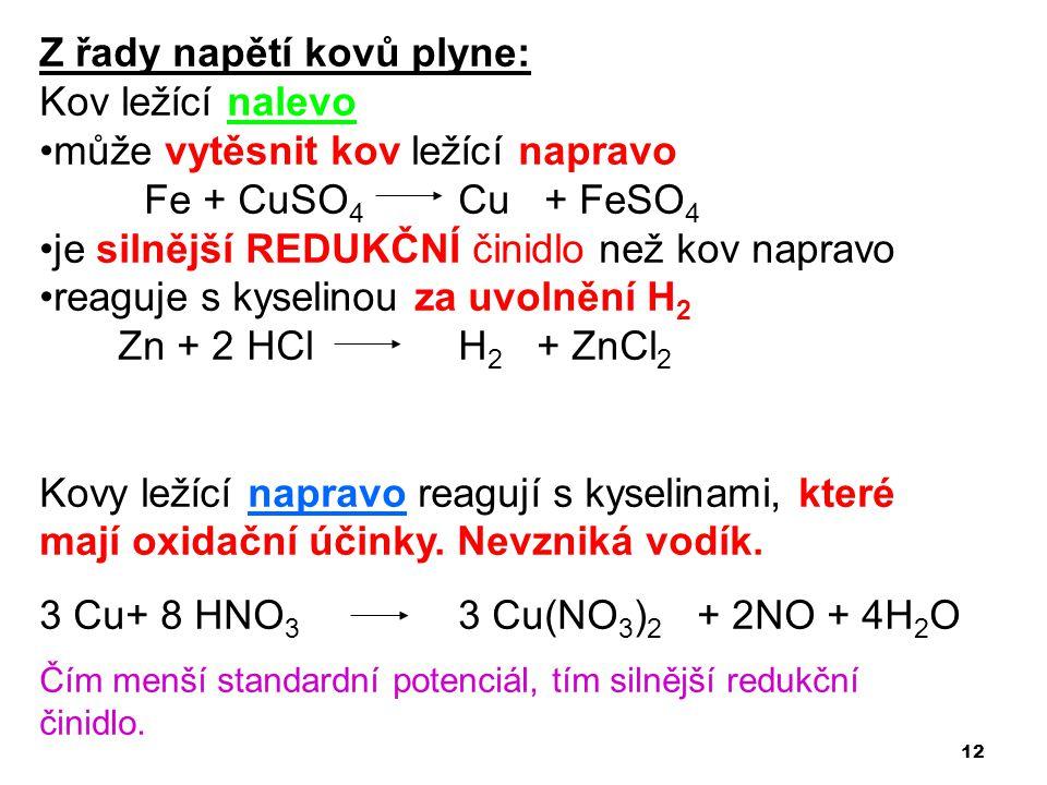 12 Z řady napětí kovů plyne: Kov ležící nalevo •může vytěsnit kov ležící napravo Fe + CuSO 4 Cu + FeSO 4 •je silnější REDUKČNÍ činidlo než kov napravo