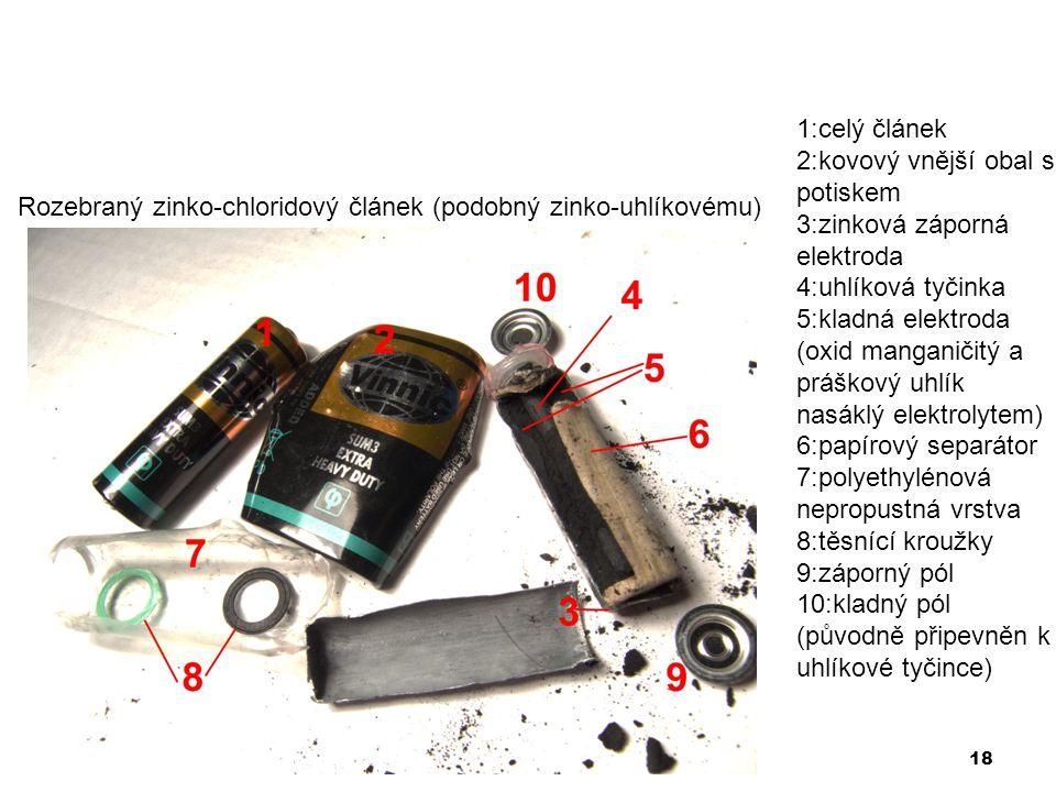 18 Rozebraný zinko-chloridový článek (podobný zinko-uhlíkovému) 1:celý článek 2:kovový vnější obal s potiskem 3:zinková záporná elektroda 4:uhlíková t