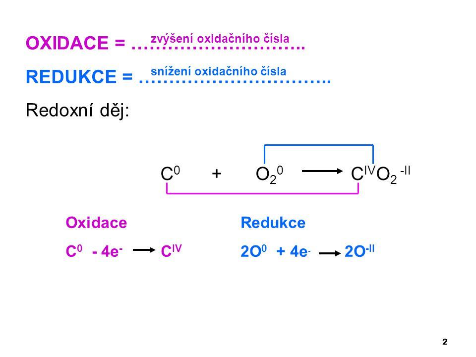 2 OXIDACE = ……………………….. REDUKCE = ………………………….. Redoxní děj: C 0 + O 2 0 C IV O 2 -II Oxidace C 0 - 4e - C IV Redukce 2O 0 + 4e - 2O -II zvýšení oxidač