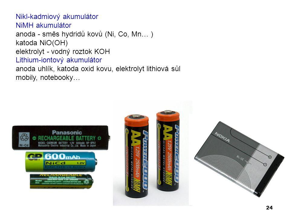 24 Nikl-kadmiový akumulátor NiMH akumulátor anoda - směs hydridů kovů (Ni, Co, Mn… ) katoda NiO(OH) elektrolyt - vodný roztok KOH Lithium-iontový akum