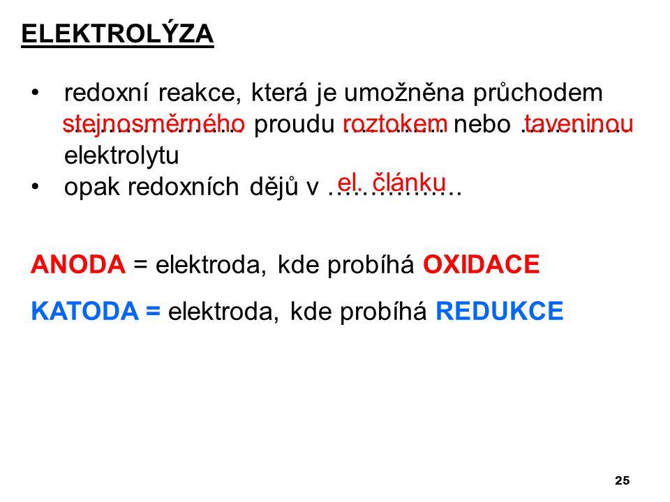 25 •redoxní reakce, která je umožněna průchodem ………………… proudu ………… nebo …………. elektrolytu •opak redoxních dějů v ……………. ANODA = elektroda, kde probíh
