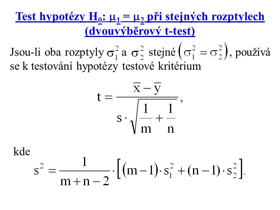 Test hypotézy H 0 :  1 =  2 při stejných rozptylech (dvouvýběrový t-test) Jsou-li oba rozptyly a stejné, používá se k testování hypotézy testové kri