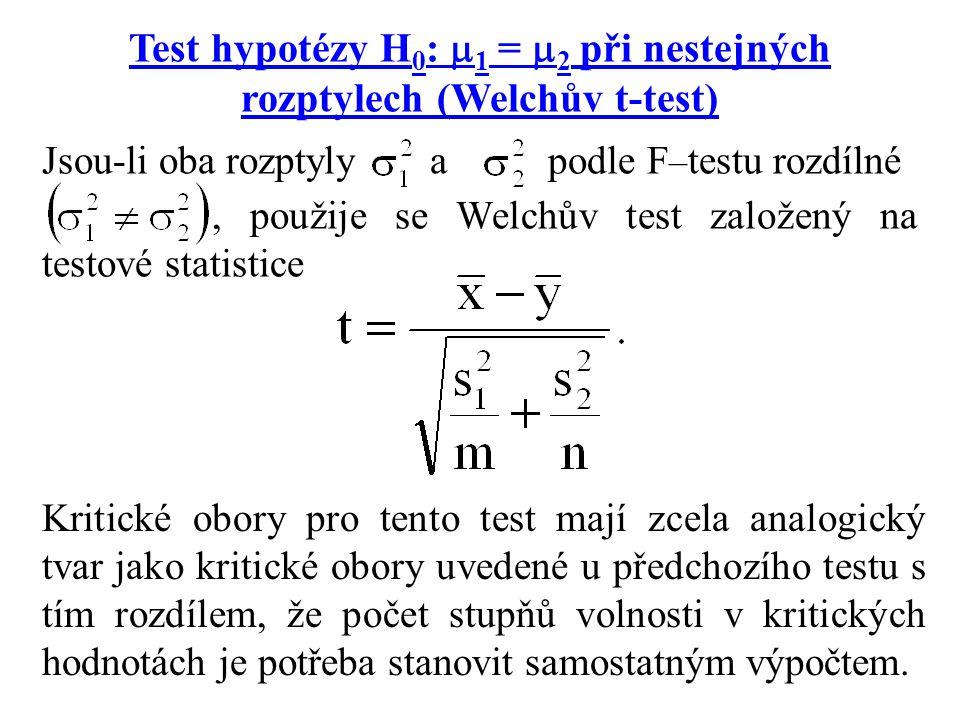 Test hypotézy H 0 :  1 =  2 při nestejných rozptylech (Welchův t-test) Jsou-li oba rozptyly a podle F – testu rozdílné, použije se Welchův test zalo